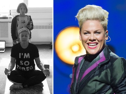 Pink's real life family portrait of her kids disturbing her downtime is so relatable it actually hurts