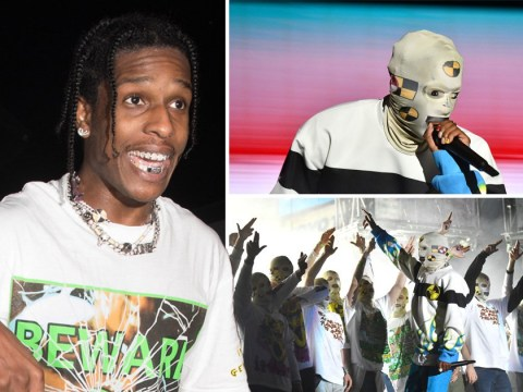A$AP Rocky wears statement face mask as he returns to stage following release from Swedish jail