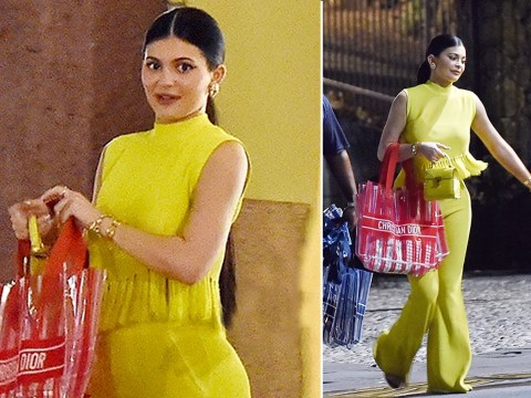 Kylie Jenner sports Bag For Life-style £2500 Dior tote on date night with Travis Scott