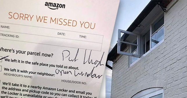 Amazon driver throws bulbs through upstairs window