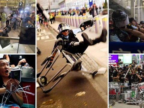 Pro-democracy protesters called 'terrorists' after Hong Kong Airport violence
