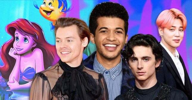 a combined image of harry styles, Timothée Chalamet, Jordan Fisher, and jimin