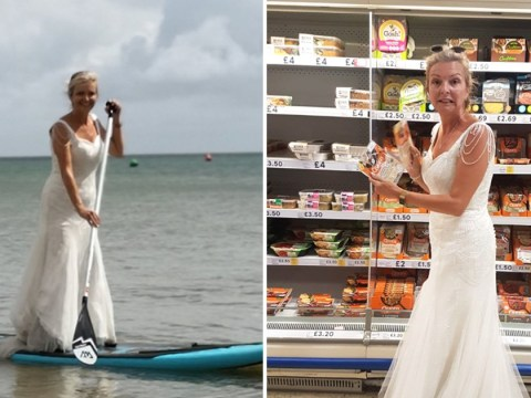 Woman does chores in her wedding dress to 'get her money's worth'