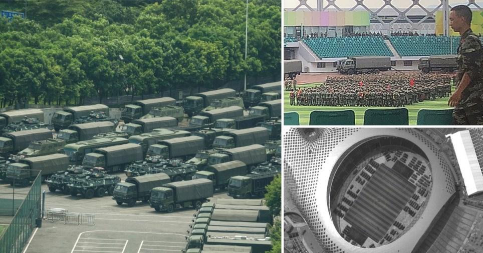 Chinese military doing drills near Hong Kong border.