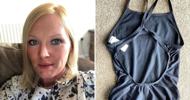 Lucy seen next to the swimming costume she tried to sell on ebay