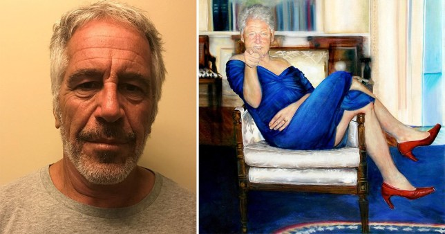 Jeffry Epstein mug shot and Bill Clinton portrait