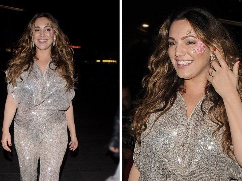 Kelly Brook has Thursday night fever as she parties with Heart colleagues in disco-tastic jumpsuit