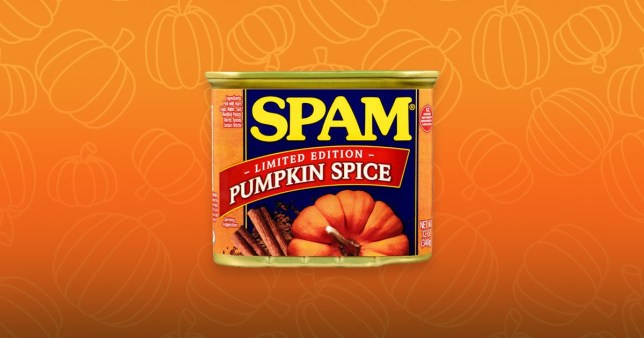 A Pumpkin Spice Spam can on an orange background with pumpkin illustrations
