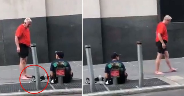 He gave his shoes to the man and walked off