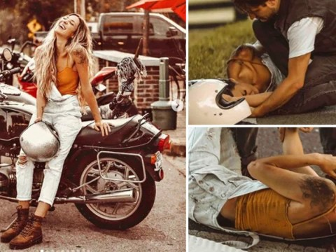 Influencer criticised for 'staging photoshoot' at a motorcycle accident