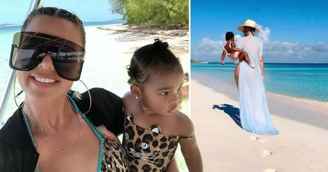 Khloe Kardashian and True Thompson in the Bahamas