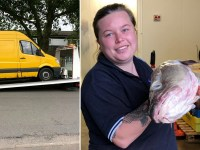 Fishmonger Amy Valentine and her van which police wrongly broke into