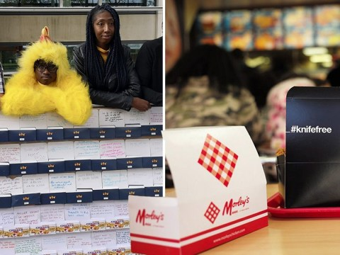 Chicken boxes sent back to Government with handwritten knife crime solutions