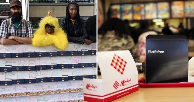 Campaigners Word on the Curb encouraged Londoners to write their suggestions to tackle knife crime on chicken boxes