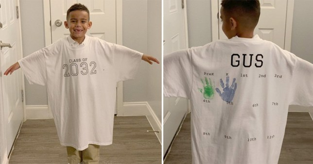 Mum creates cute t-shirt to celebrate son's first day of school every year until graduation in 2032