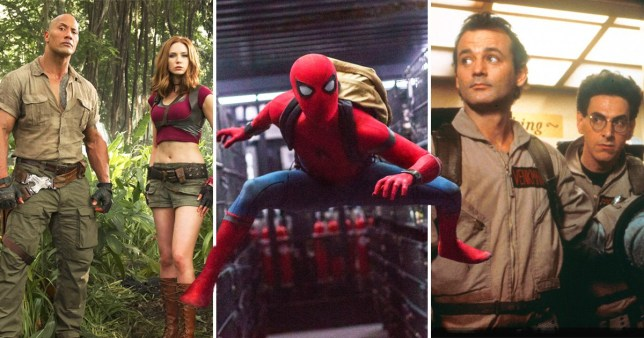 Pictures from Jumanji, Spider-Man and Ghostbusters