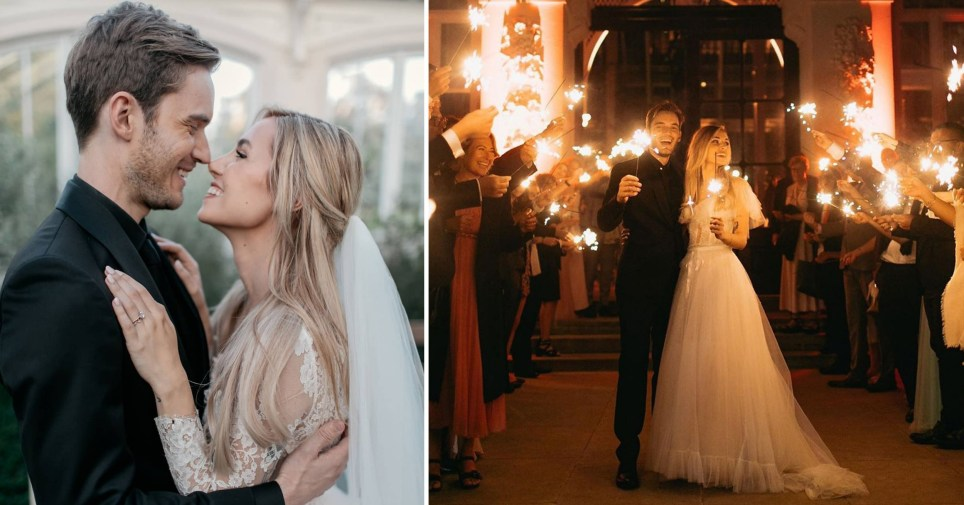YouTuber PewDiePie and wife Marzia Bisognin during their wedding