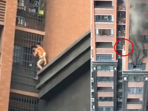 Hero uncle flees burning building with child clinging to his back