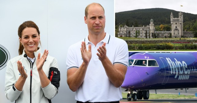 William and Kate were spotted getting off a FlyBe plane with their children in Aberdeen