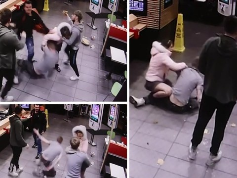 Woman sparks McDonald's brawl by slapping man in face with her high heels