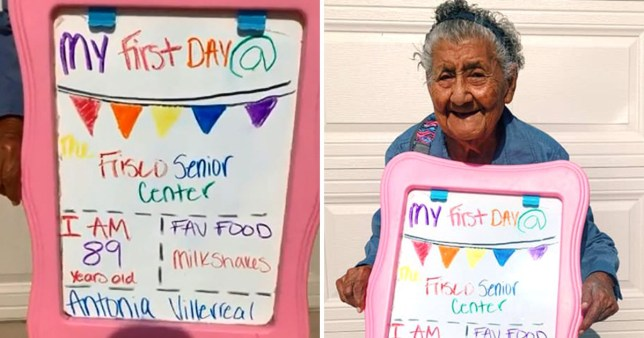 Adorable grandma celebrates starting senior day care with first-day-of-school style photoshoot