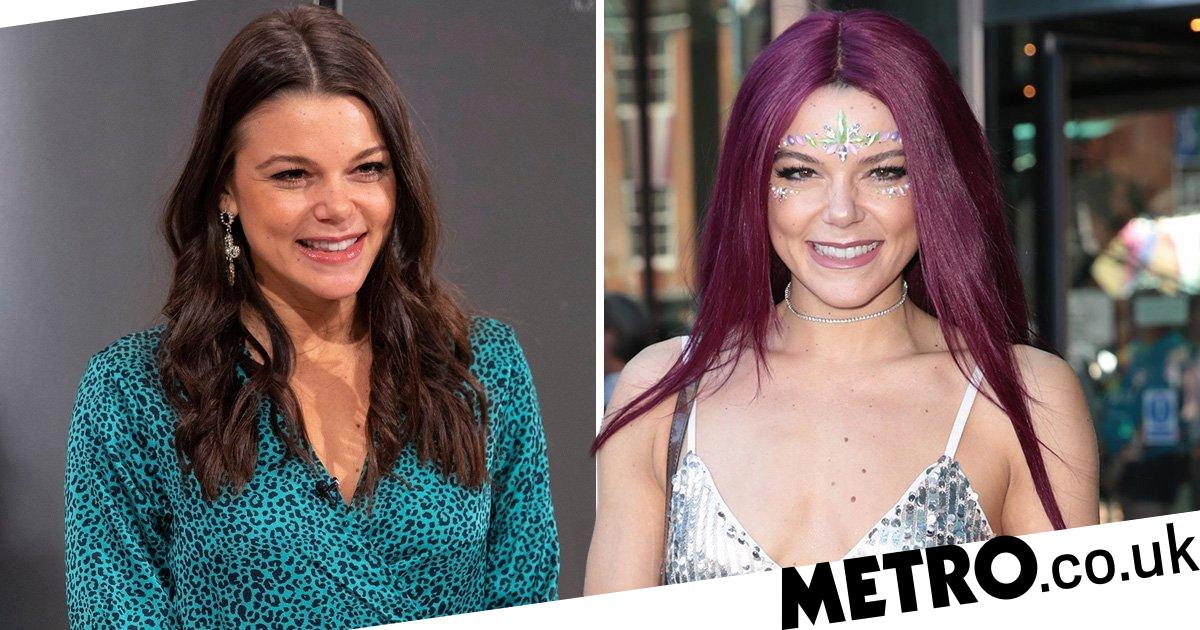 Faye Brookes washes ex Gareth Gates out of her hair with dramatic purple do
