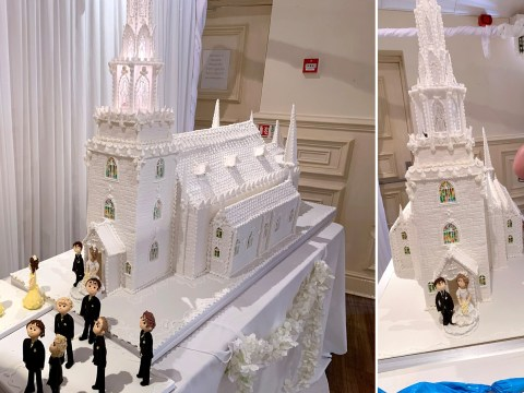 Baker creates incredible 8ft tall wedding cake that weighs seven stone – and cost £1,500