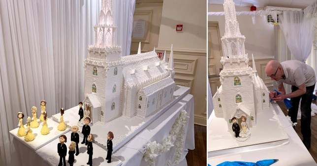 Pleasing This 8Ft Tall Wedding Cake Weighs 7 Stone And Cost 1 500 Metro News Funny Birthday Cards Online Fluifree Goldxyz