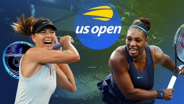 Maria Sharapova and Serena Williams hit shots