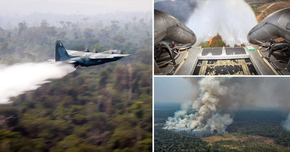 Brazil's ministry of defence released a video showing Hercules warplanes dropping water on forests in the Amazon region (Picture: AP/EPA/Reuters)