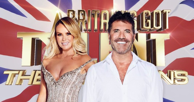 Amanda Holden and Simon Cowell in frontof the BGT CHampions logo
