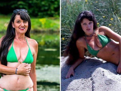 68-year-old glamour model poses in the same bikini she wore in her 20s