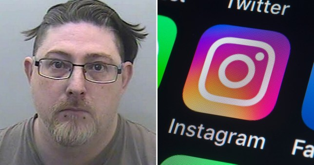 Convicted paedophile Dominic Nielen-Groen, 39, from Wolverhampton, next to phone screen showing Instagram and Facebook logos