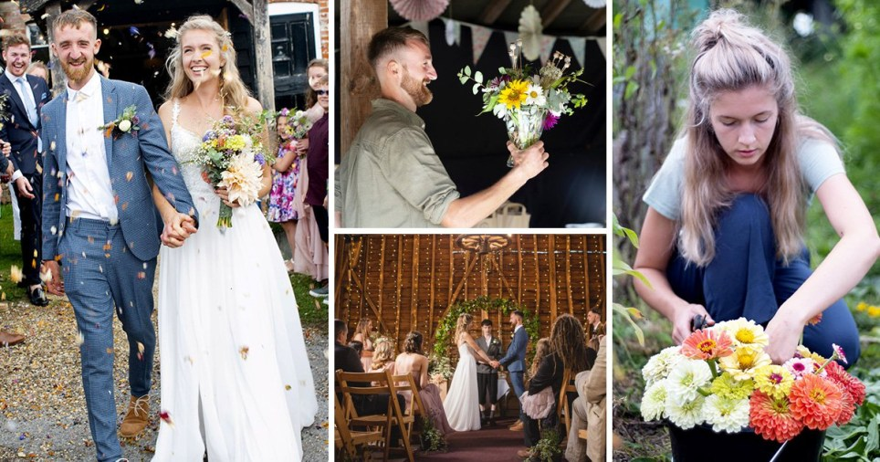 Aimee and Tyler Morrison grew their own flowers on their wedding day
