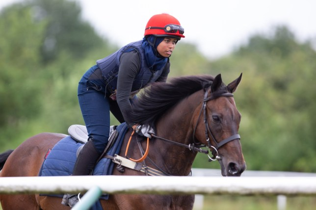 Khadijah Mellah seen riding a horse in preparation of the Magnolia Horseracing Cup