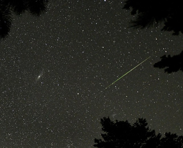 A Perseid meteor (R) is seen near the Andromeda Galaxy (L) over Rocky Mountain National Park in Colorado in the early morning hours of August 12, 2018. The annual Perseid meteor shower is expected to peak in the early hours of August 13. (Photo by STAN HONDA / AFP) (Photo credit should read STAN HONDA/AFP/Getty Images)