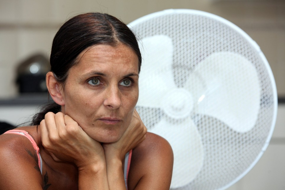 Sadie French, 39, is unable to sweat or to regulate her body temperature, resulting in seizures due to the extreme temperatures in her home (Picture: SWNS)