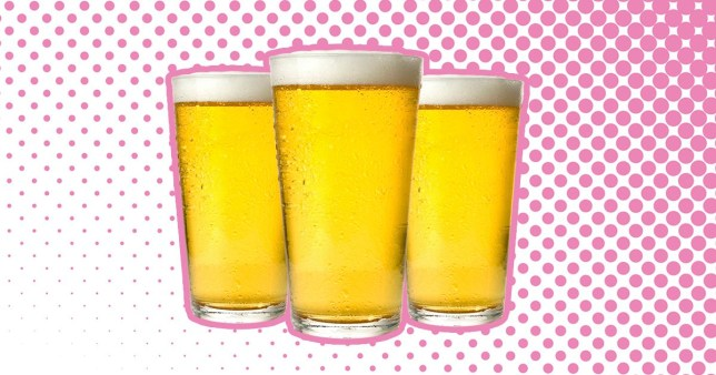 Three pints of beer on a white and pink background