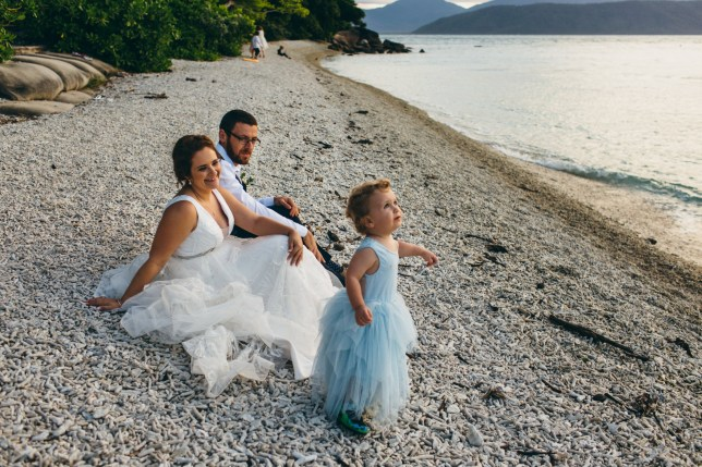 Joanna and Najee with their son who wanted to wear a dress to their wedding