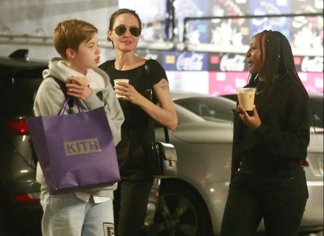 Angelina Jolie goes shopping with her kids Zahara and Shiloh
