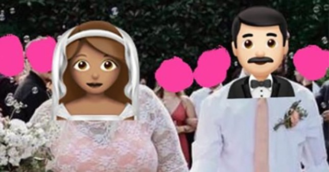 A bride and groom, with faces covered by emojis
