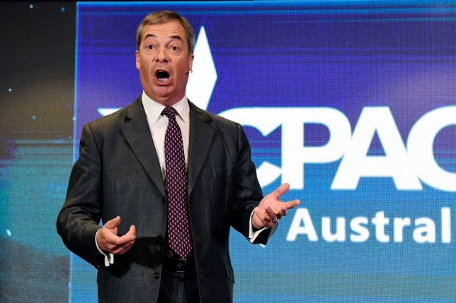 epa07765186 UK Brexit Party Leader Nigel Farage makes an address during the Conservative Political Action Conference (CPAC) in Sydney, Australia, 10 August 2019. EPA/BIANCA DE MARCHI AUSTRALIA AND NEW ZEALAND OUT