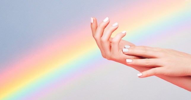 the rainbow french manicure is a new beauty trend