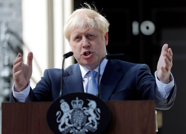 FILE - In this file photo dated Wednesday, July 24, 2019, Britain's newly installed Prime Minister Boris Johnson gestures as he speaks outside 10 Downing Street in London. The Brexit decision to split from the European Union was fuelled by a sense that the U.K. is fundamentally separate from its continental neighbours, and leading Brexit campaigner Boris Johnson once compared the EU to the conquests of Napoleon and Hitler. (AP Photo/Frank Augstein, FILE)