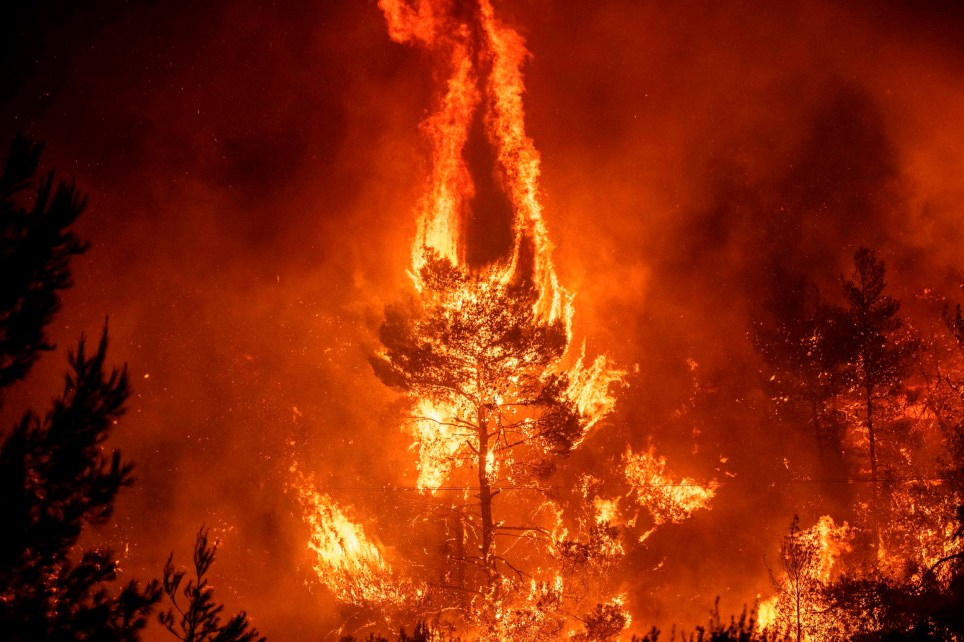 """TOPSHOT - Flames rise from a forest fire near the village of Makrimalli on the island of Evia, northeast of Athens, on August 13, 2019. - Hundreds of villagers were evacuated on August 13 and the Greek prime minister cancelled a vacation as scores of firefighters battled a major wildfire on the country's second-largest island of Evia, authorities said. """"Conditions are exceptionally difficult and the state's first priority is to protect lives,"""" Greek prime minister told reporters outside the fire department's centre of operations, after cutting short a vacation on his home island of Crete. Four Canadair fire-fighting planes from Croatia and Italy would be deployed on August 14 after Greece requested EU assistance. (Photo by ANGELOS TZORTZINIS / AFP)ANGELOS TZORTZINIS/AFP/Getty Images"""