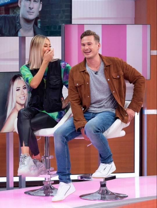 Editorial use only Mandatory Credit: Photo by Ken McKay/ITV/REX (10361582ai) Demi Sims, Lee Ryan 'Good Morning Britain' TV show, London, UK - 14 Aug 2019 DEMI SIMS & LEE RYAN The TOWIE star, and sister of Chloe, has been keeping us guessing over rumours linking her to Love Island's Megan Barton-Hanson? so has she found love on Celebs Go Dating? She joins Blue front man Lee Ryan, who was once linked to his Strictly dance partner, Nadia Bychkova, to talk about their search to find true love.