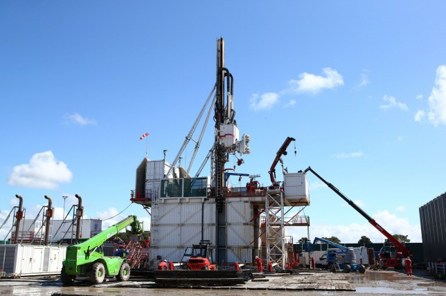 """The drilling rig at Preston New Road shale gas exploration site. The boom in fracking for shale gas has """"dramatically increased"""" global methane emissions in the past decade, a study has warned. PRESS ASSOCIATION Photo. Issue date: Wednesday August 14, 2019. While the rapid rise in levels of methane, a significant greenhouse gas, in recent years has been attributed to biological sources such as cows, tropical wetlands and rice fields, new research points to the role of fracking. See PA story ENVIRONMENT Methane. Photo credit should read: Dave Thompson/PA Wire NOTE TO EDITORS: This handout photo may only be used in for editorial reporting purposes for the contemporaneous illustration of events, things or the people in the image or facts mentioned in the caption."""