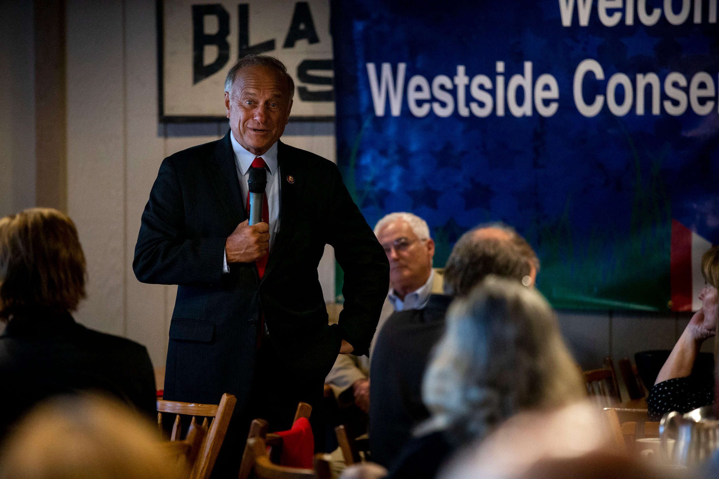Photo of Steve King addressing a West Side Conservative Club about banning termination in a box of rape or incest