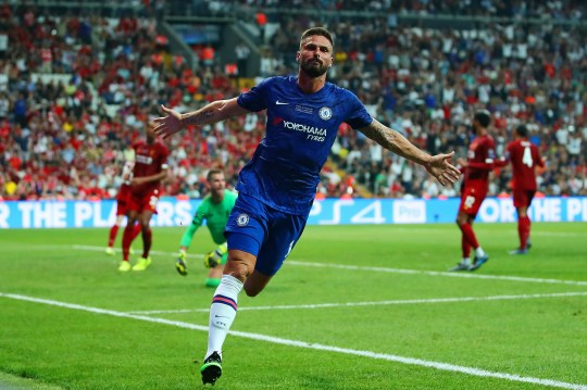 Olivier Giroud of Chelsea celebrates scoring a goal to make the score 0-1 during the UEFA Super Cup match between Liverpool and Chelsea