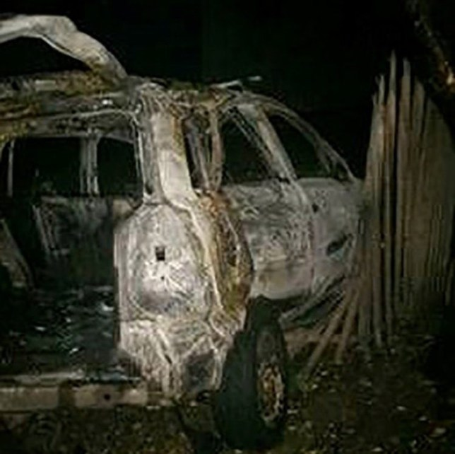 The burnt out husk of the car. A woman and her two children were almost killed when her drunk abusive partner demanded to drive - and smashed the vehicle into a tree. See National News story NNabuse. A mum was trapped inside a burning car with her two toddlers after her abusive partner demanded to drive - and smashed into a tree at 80mph. Faye Davis-Smith?s boyfriend Michael Chapman coerced her into allowing him to take the wheel - even though he was a learner driver and drunk. Former support worker Chapman, 28, rammed the seven-seater car into a tree and wiped out a set of railings after losing control while driving at speeds of up to 80mph - in a 30mph limit. The collision left Faye, 22, and her kids trapped inside the burning silver Vauxhall Zafira.